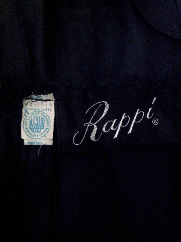 1960s Rappi Black Silk Taffeta Gown with Velvet Applique  For Sale 1