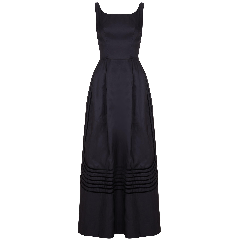 1960s Rappi Black Silk Taffeta Gown with Velvet Applique