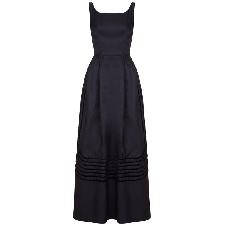 1960s Rappi Black Silk Taffeta Gown with Velvet Applique  For Sale