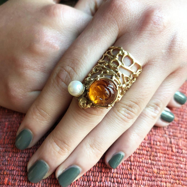 Women's 1960s Rare Gerda Flöckinger Carved Citrine, Cultured Pearl and Gold Ring For Sale