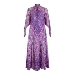 1960s Rare Purple Adini Sultana Dress With Angel Sleeves and Metallic Thread