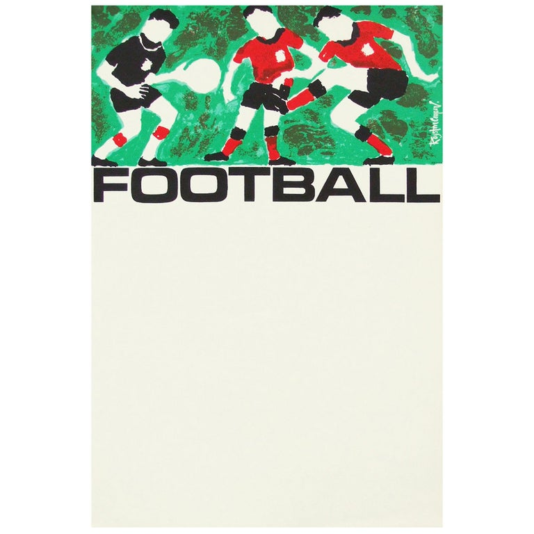 Original 1960s football soccer information poster designed by Royston Cooper for British Transport, UK.  First edition color offset lithograph.  Rolled.  Measures: L 76 cm x W 51 cm.