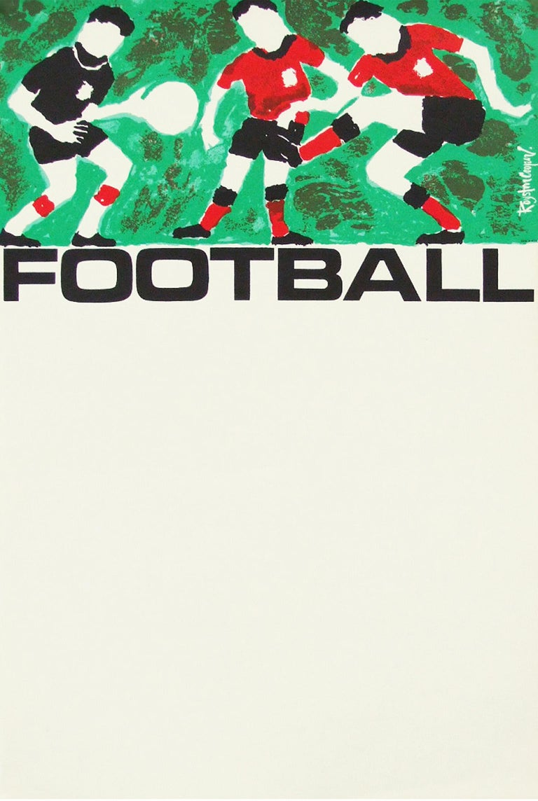 Mid-Century Modern 1960s Rare Vintage British Transport Soccer Football Poster by Royston Cooper For Sale