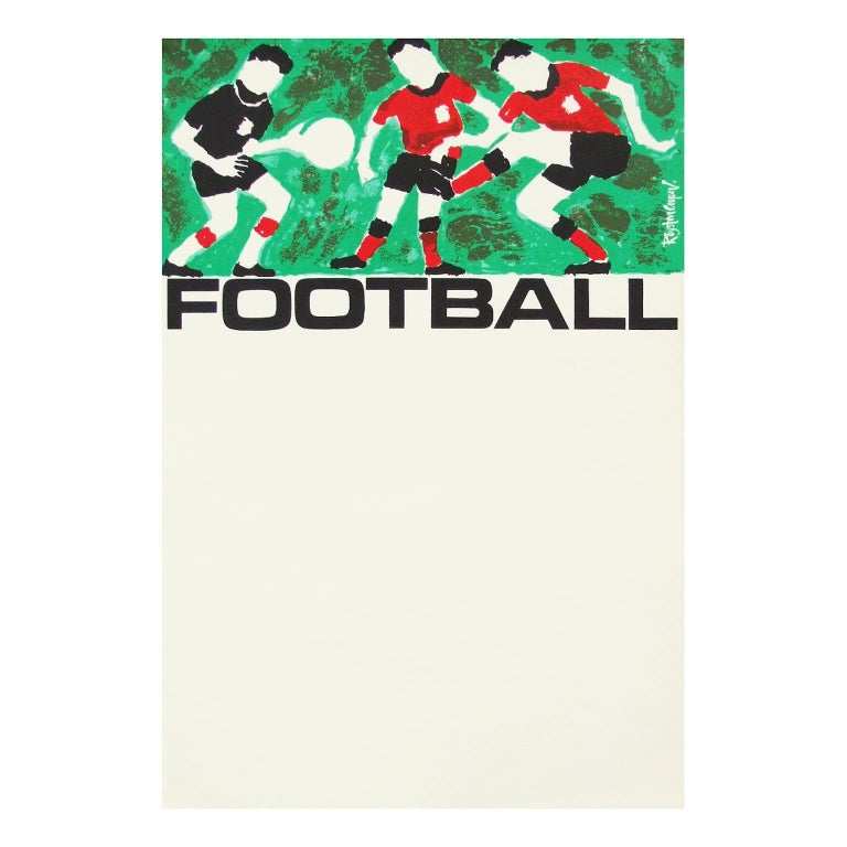 English 1960s Rare Vintage British Transport Soccer Football Poster by Royston Cooper For Sale