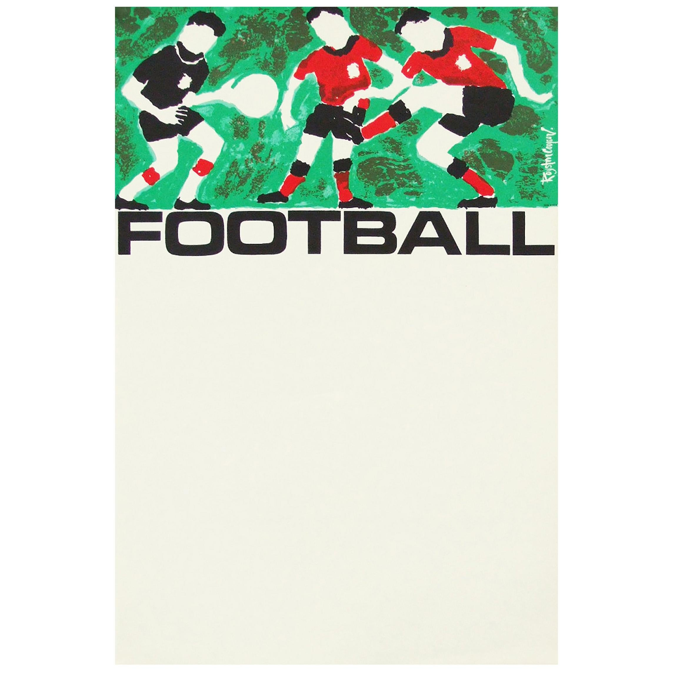 1960s Rare Vintage British Transport Soccer Football Poster by Royston Cooper