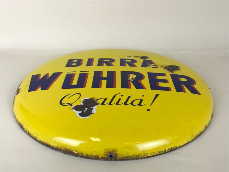 Italian 1960s Rare Vintage Yellow Wührer Beer Button Sign Made in Italy For Sale