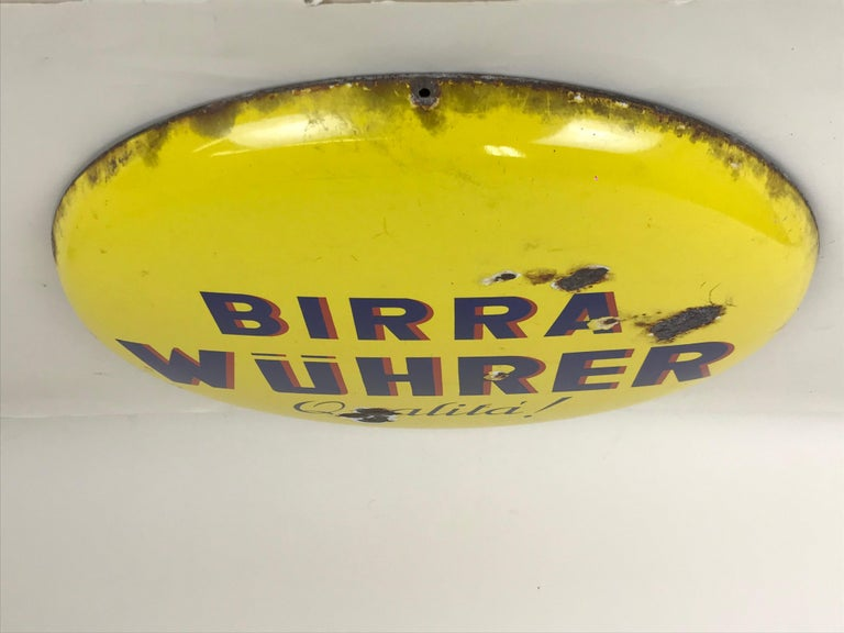 Mid-20th Century 1960s Rare Vintage Yellow Wührer Beer Button Sign Made in Italy For Sale