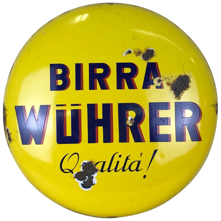 1960s Rare Vintage Yellow Wührer Beer Button Sign Made in Italy For Sale