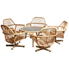 1960s Rattan Garden Set / Lounge Set Consist Five Swivel Chairs and Coffee Table