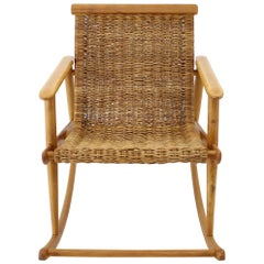 1960s Rattan Rocking Chair by ULUV, Czechoslovakia
