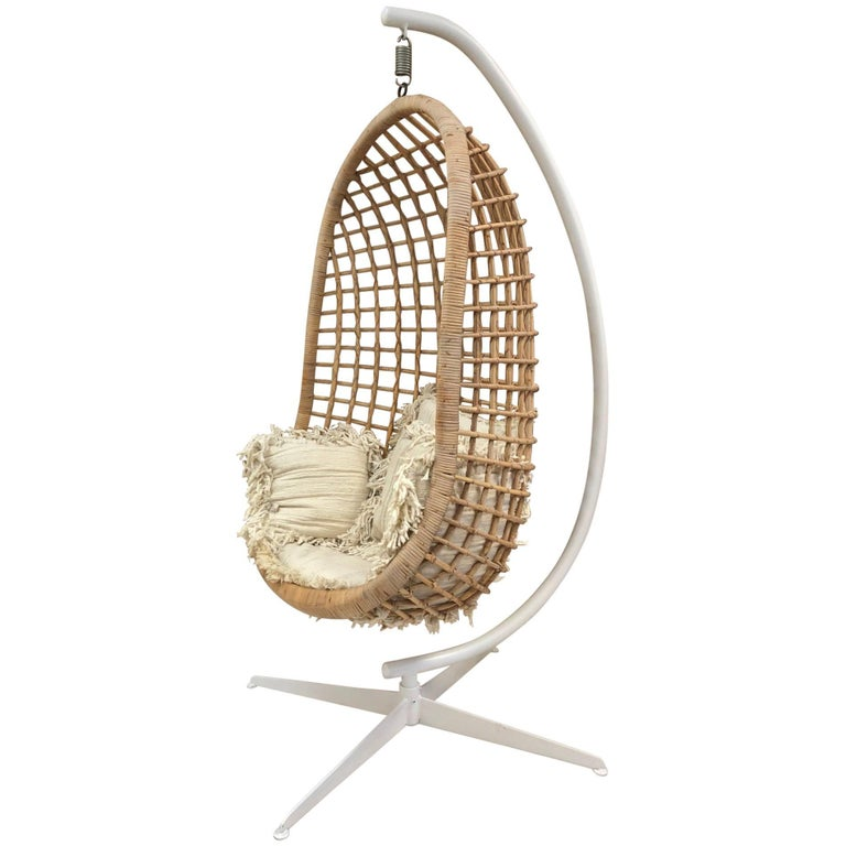 1960s Rattan Swing Chair For