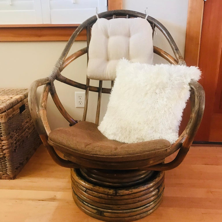 Mid-20th Century 1960s Rattan Swivel Lounge Chair American For Sale