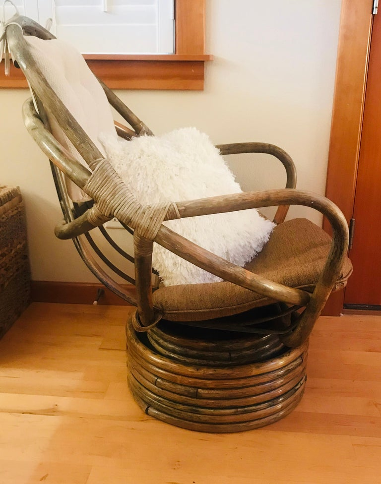 Cotton 1960s Rattan Swivel Lounge Chair American For Sale
