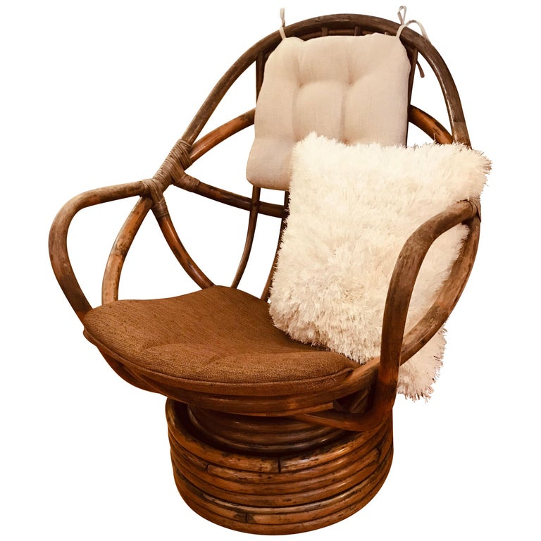 1960s Rattan Swivel Lounge Chair American For Sale