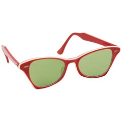 1960s Ray Ban Red Sunglasses with White Trim