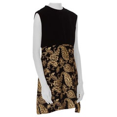 1960S  Rayon Embroidered Velvet Mod Dress