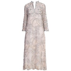 1960S Oyster Grey Rayon Lace Empire Waist Sleeved Gown Embroidered With Real Si