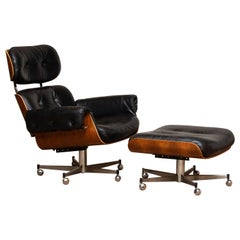 1960's Recliner / Swivel Chair and Matching Ottoman by Martin Stoll for Giroflex
