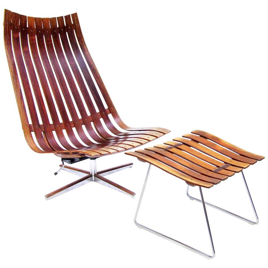 "1960s Reclining ""Scandia"" Lounge Chair & Footstool in Rosewood by Hans Brattrud"
