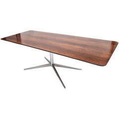 1960s Rectangular Brazilian Jacaranda Wood and Chrome Dining Table by Forma