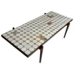 1960s Rectangular Coffee Table by Heinz Lilienthal Mosaic in Carrara and Onyx