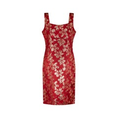1960s Red and Gold Brocade Shift Dress