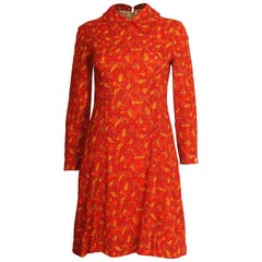 1960s Red and Orange Leaf Print Mini Dress