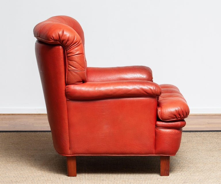 1960s Red Buffalo Leather and Quilted Easy or Lounge or Armchair by Arne Norell 4