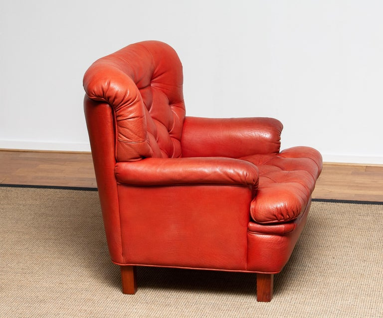 1960s Red Buffalo Leather and Quilted Easy or Lounge or Armchair by Arne Norell 5
