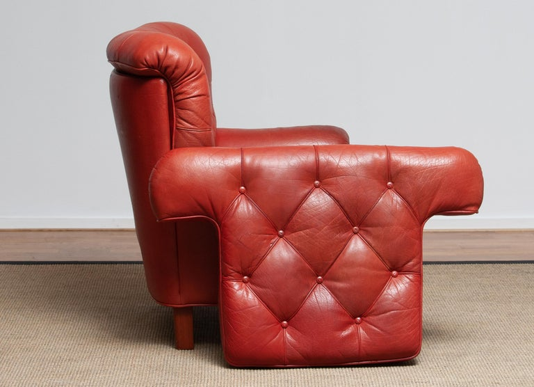 1960s Red Buffalo Leather and Quilted Easy or Lounge or Armchair by Arne Norell 6