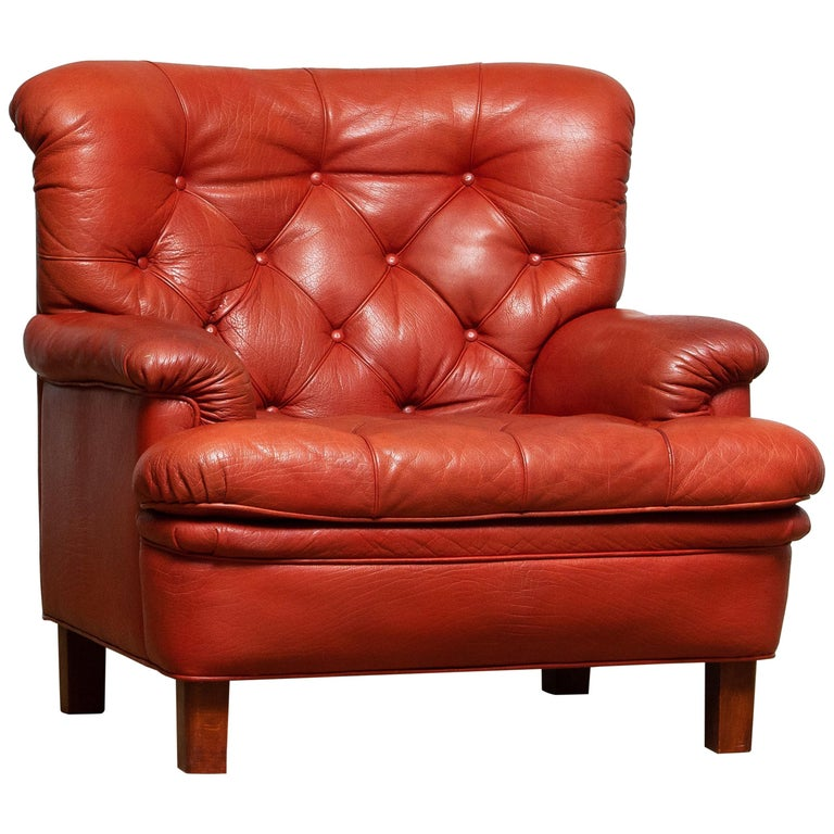 Mid-Century Modern 1960s Red Buffalo Leather and Quilted Easy or Lounge or Armchair by Arne Norell