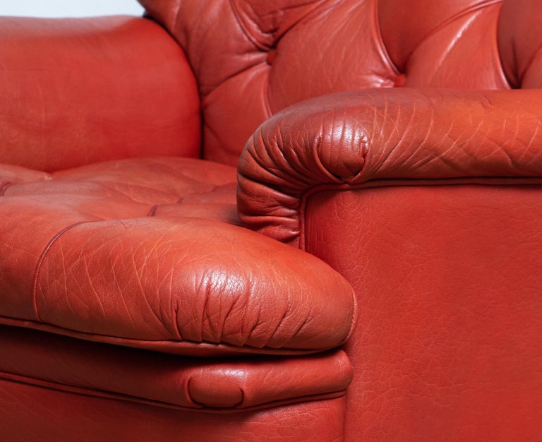 Mid-20th Century 1960s Red Buffalo Leather and Quilted Easy or Lounge or Armchair by Arne Norell