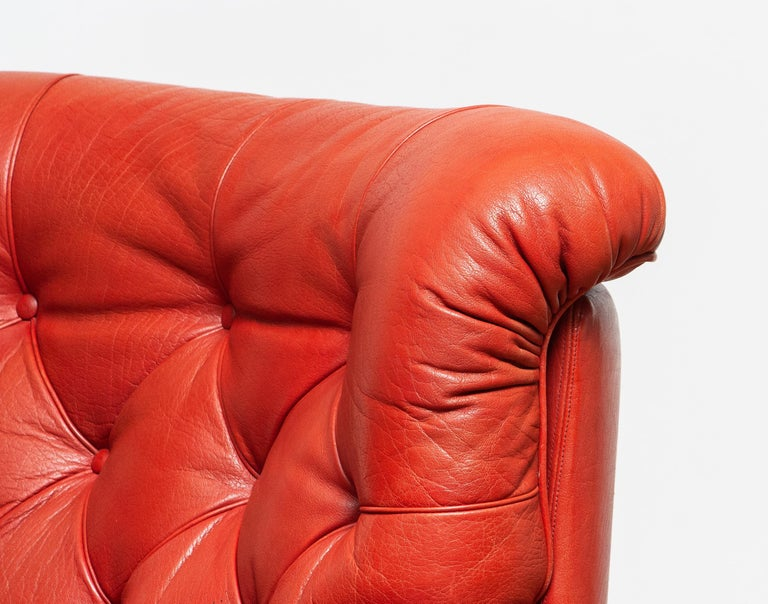 1960s Red Buffalo Leather and Quilted Easy or Lounge or Armchair by Arne Norell 1