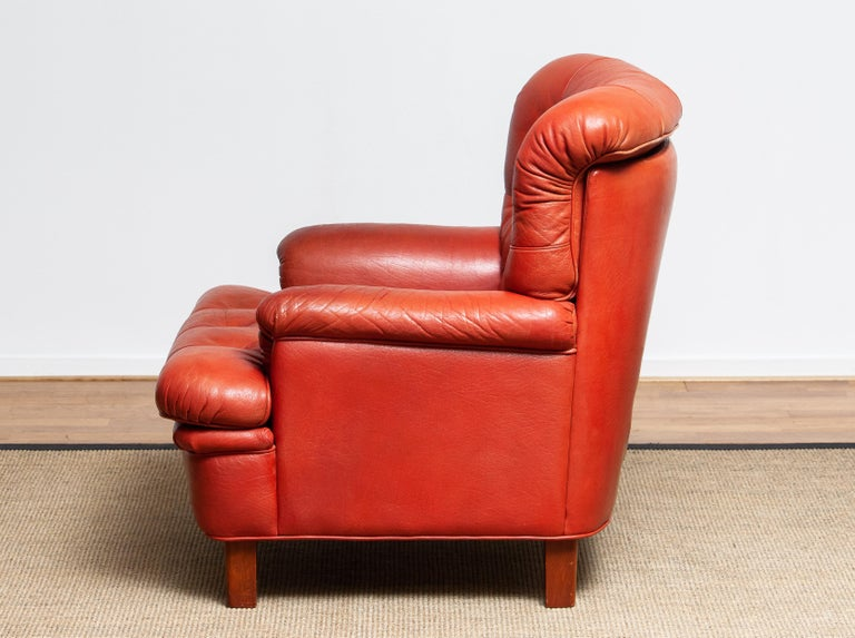 1960s Red Buffalo Leather and Quilted Easy or Lounge or Armchair by Arne Norell 2