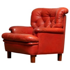 1960s Red Buffalo Leather and Quilted Easy or Lounge or Armchair by Arne Norell