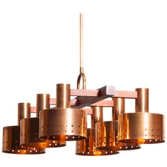 1960s, Red Copper and Teak Chandelier Designed by Tapio Wirkkala for Idman