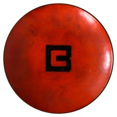 "1960s Red Enamel Dish with ""B"""
