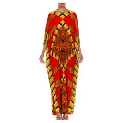 1960S Red & Gold Poly/Cotton Pleated Paisley Print Kaftan