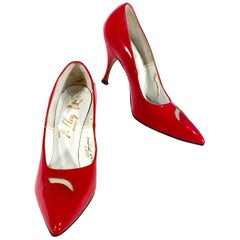 1960s Red patent Leather Stiletto Heels