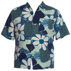 1960S Red & Pink Cotton Barkcloth Psychedelic Printed Men's Hawaiian Shirt