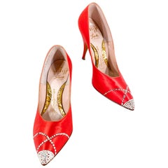 1960s Red Satin Stiletto Heels With Rhinestone Accents