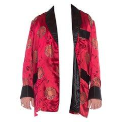 1960S Red Silk Jacquard Asian Smoking Jacket