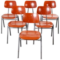 1960s Red Stacking School, University Dining Chair, Set of Six
