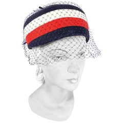1960s Red, White, & Blue Pillbox Hat