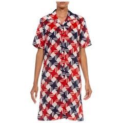 1960S Red White & Blue Polyester Gingham Plaid Print Mod Dress