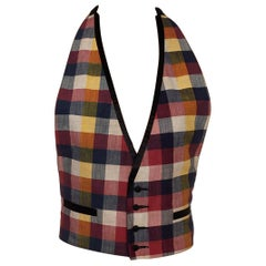 1960S Red White & Blue Silk Blend Checked Weave Vest With Satin Trim