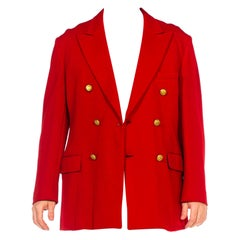 1960S Red Wool Jersey Double Breasted Peak Lapel Blazer  With Gold Heraldic But