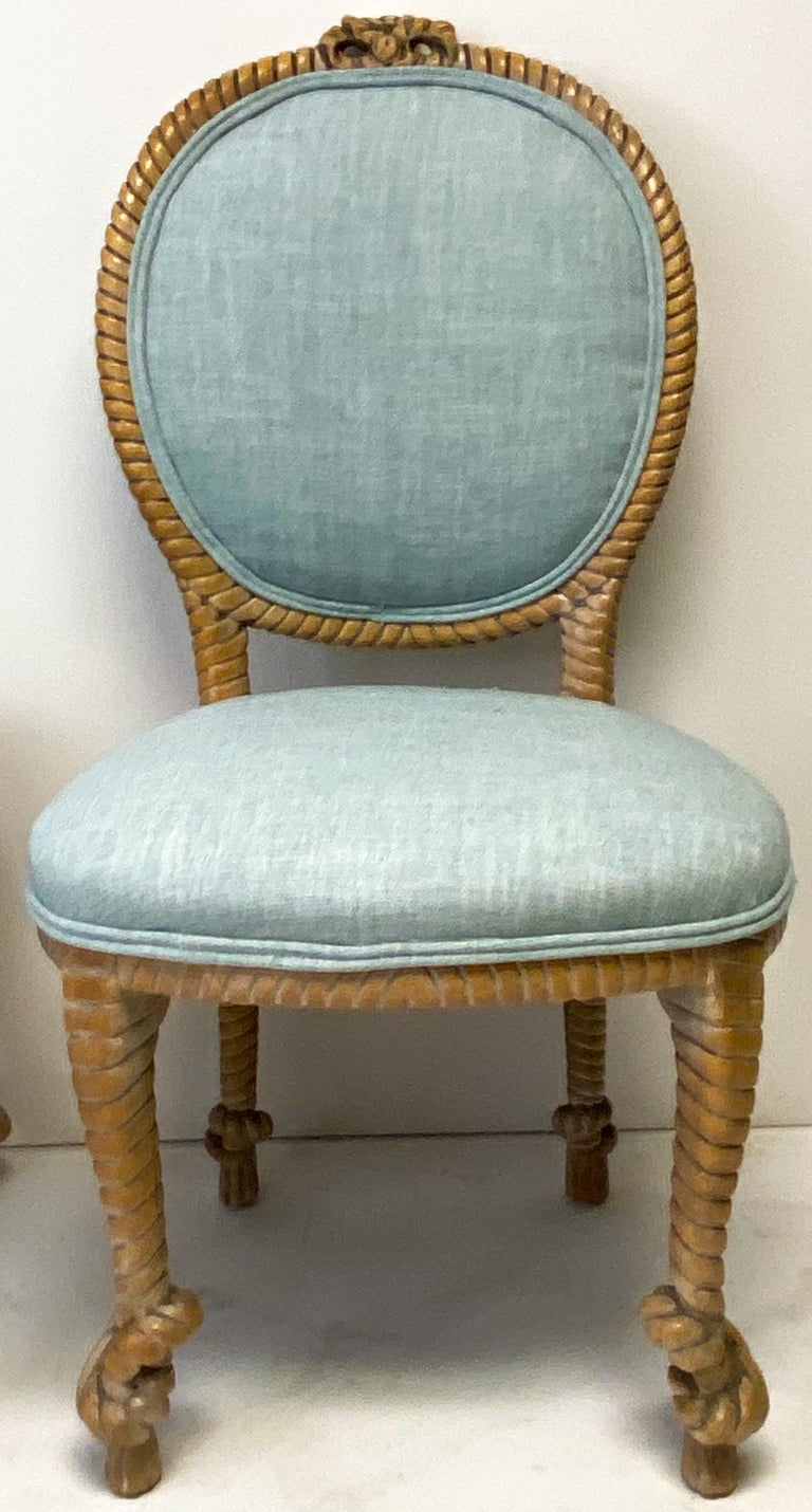Hollywood Regency 1960s Regency Style Carved Oak Rope Side Chairs by Baker Furniture, a Pair For Sale