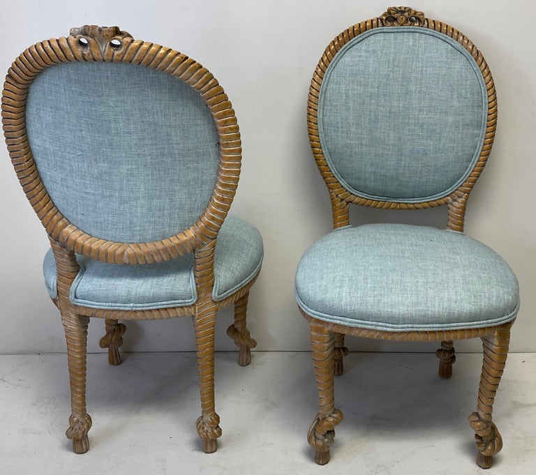 American 1960s Regency Style Carved Oak Rope Side Chairs by Baker Furniture, a Pair For Sale