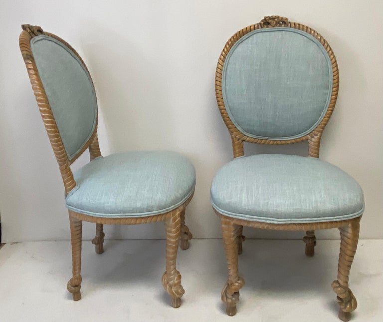Cerused 1960s Regency Style Carved Oak Rope Side Chairs by Baker Furniture, a Pair For Sale